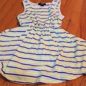 Blue and yellow striped tank dress size 4/5